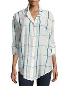 Hand-Painted Squares Organic Cotton Shirt, Medium Blue