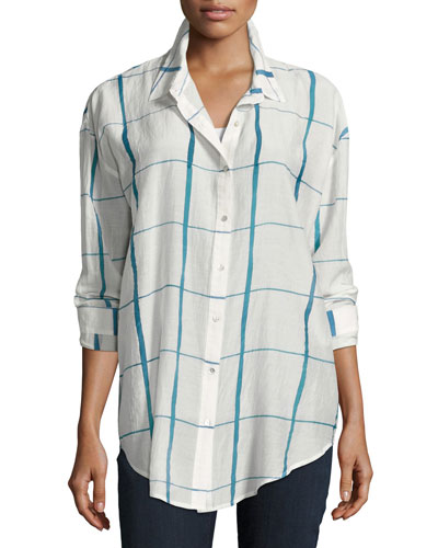 Hand-Painted Squares Organic Cotton Shirt, Medium Blue