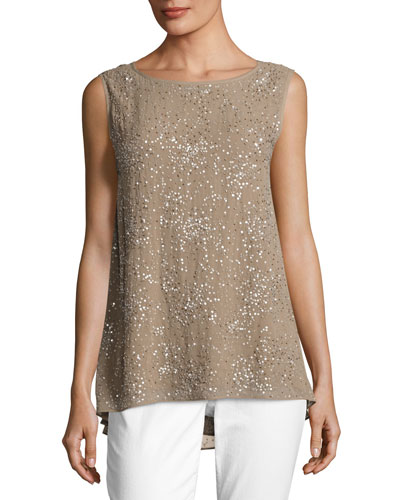 Ethereal Hand-Beaded Sleeveless Top, Mocha