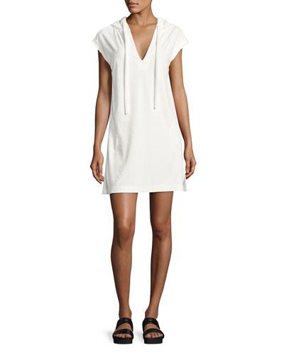 French Terry Hooded Sweatshirt Dress, White