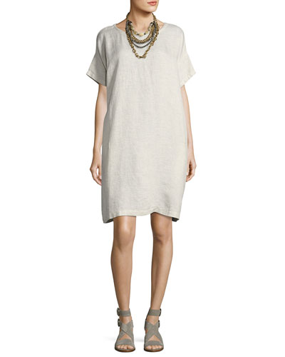 Slubby Organic Linen Shift Dress, Bone