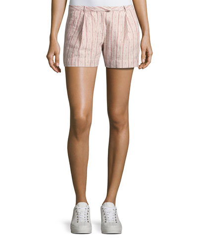 Striped Pleated Linen Shorts, Pink Pattern
