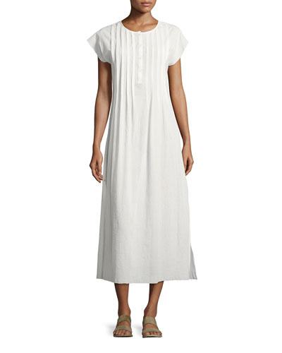 Gauze Pleated Maxi Dress, White