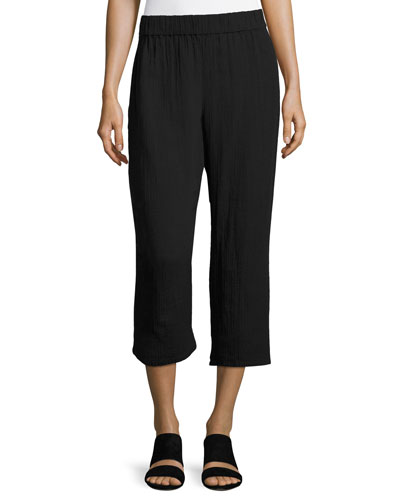 Organic Cotton Gauze Cropped Pants, Black, Petite