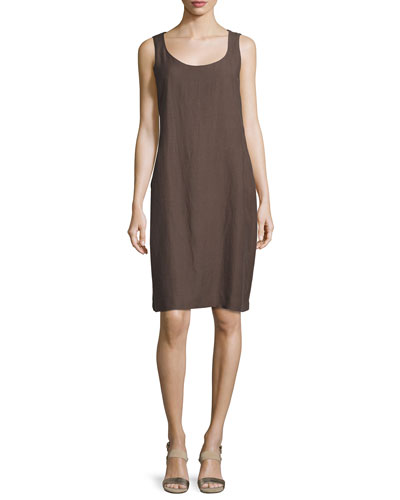 Sleeveless Drapey Linen-Blend Dress, Cobblestone
