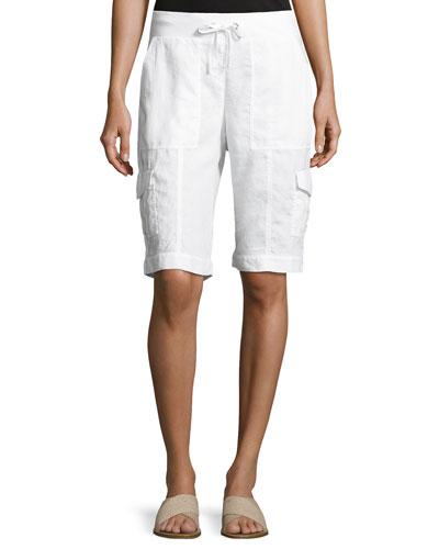 Drawstring Organic Linen Cargo Shorts, White