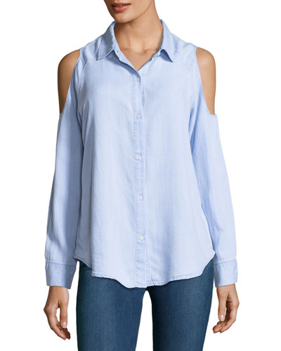 Sadie Button-Front Long-Sleeve Shirt, Blue