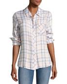 Hunter Plaid Shirt, White Lilac Multipattern