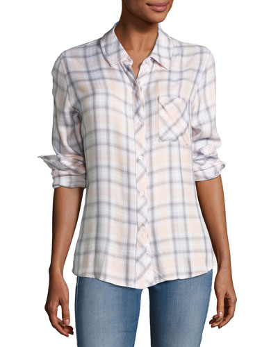 Hunter Plaid Shirt, White Lilac Multipattern