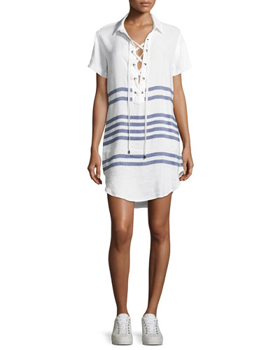 Rocky Striped Short-Sleeves Lace-Front Dress, White Pattern