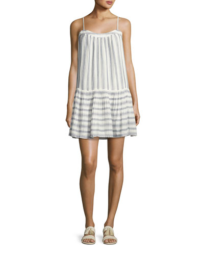 Ante Sleeveless Striped Mini Dress, White