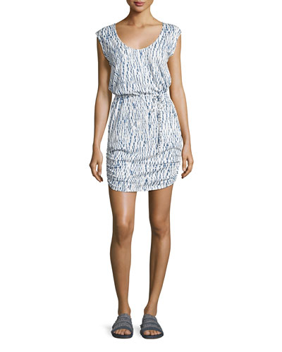 Pankaj Printed Tie-Waist Dress, White/Blue