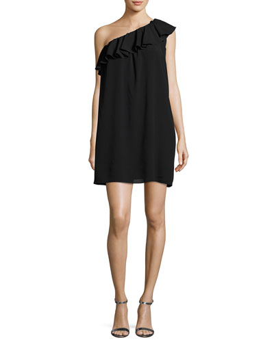 One-Shoulder Ruffle Dress, Black