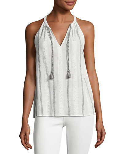 Amalle Striped Embroidered Sleeveless Top, White