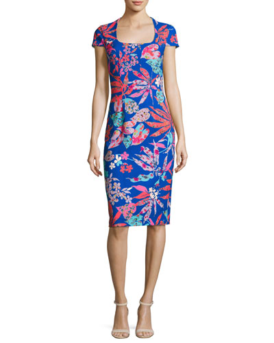 Cap-Sleeve Floral Ponte Sheath Dress, Blue/Multicolor