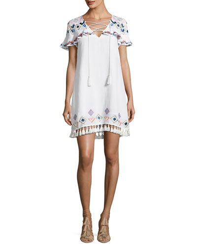 Marina Embroidered Coverup Swim Dress, White