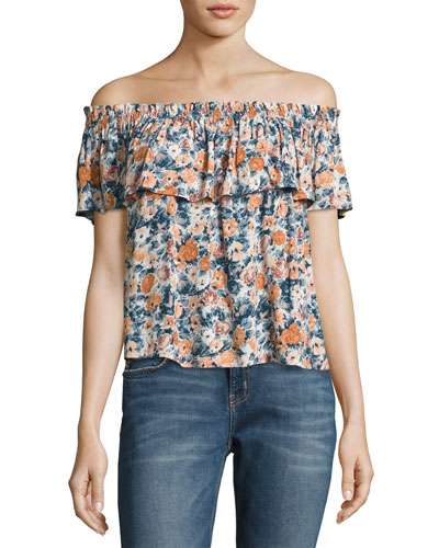 Off-The-Shoulder Ruffle Top, Multicolor