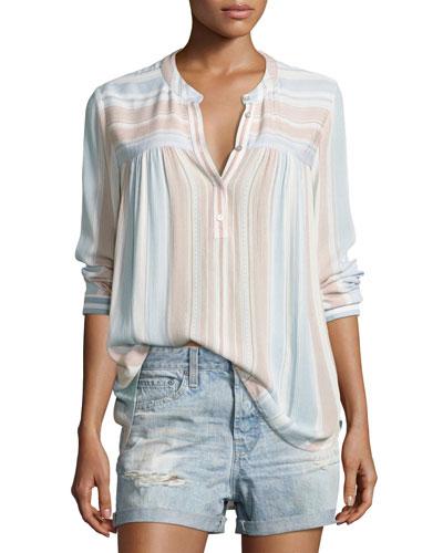 Jess Long-Sleeve Striped Shirt