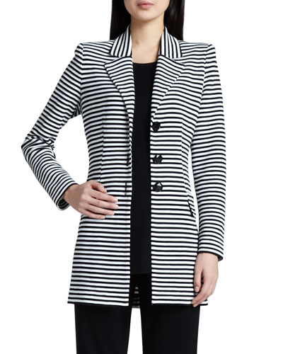 Amelie Long Striped Jacket, Plus Size