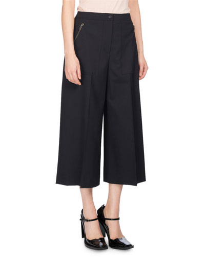 Wide-Leg Mid-Rise Culotte Pants, Black