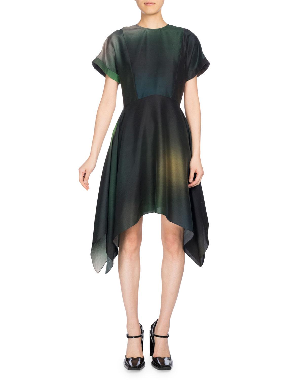 Soft Flare Dress Short Sleeve Dress, Olive