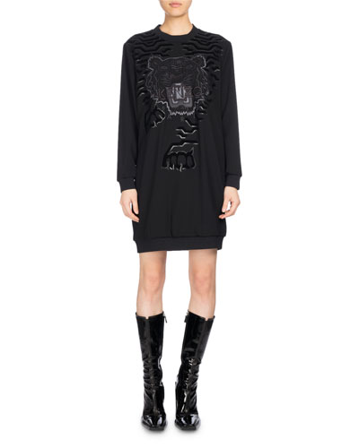 Long-Sleeve Graphic Sweaterdress, Black