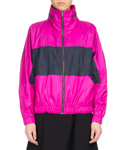 Wind-Blocking Colorblock Jacket, Fuchsia