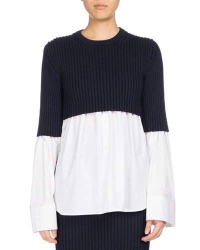 Mixed-Knit Long Sleeve Top, White