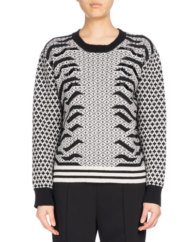 Crew Neck Embellished Mixed-Print Sweater, Black