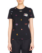 Allover Multi-Icons Classic T-Shirt, Black