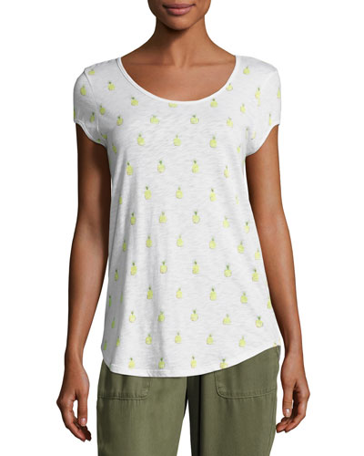 Jeslyn B Pineapple Cotton Top, White