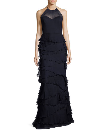 Sleeveless Silk Tiered Ruffle Gown, Navy