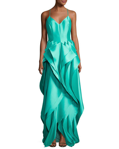 Sleeveless Stretch Mikado Godet Ruffle Gown, Light Green