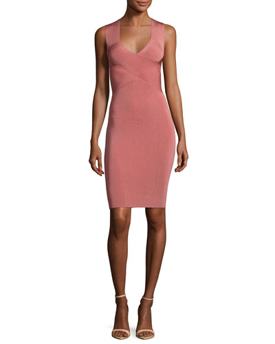 Sleeveless Crisscross Mini Dress, Pink