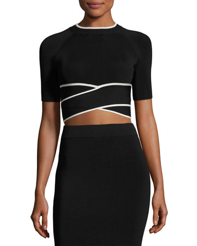 Short-Sleeve Crisscross Crop Top W/ Tipping, Black