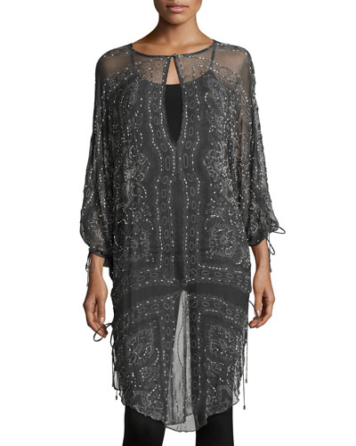 The Rhiannon Silk Embellished Tunic, Gray Multi
