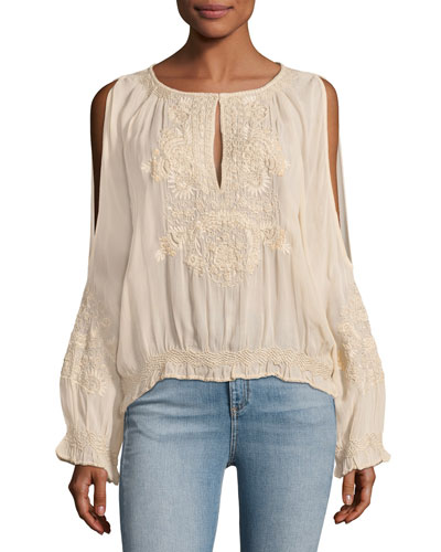 Penny Cold-Shoulder Embroidered Chiffon Top