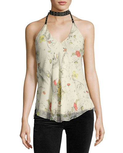 Jaded Silk Chiffon Choker Halter Top, Yellow-Multi