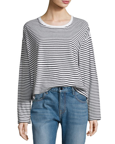 Long-Sleeve Drop Shoulder Striped Cotton Tee, White