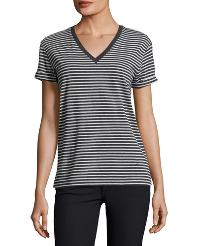 Striped Short-Sleeve V-Neck Tee, Navy