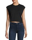 Tie Back Cropped Muscle Sweatshirt