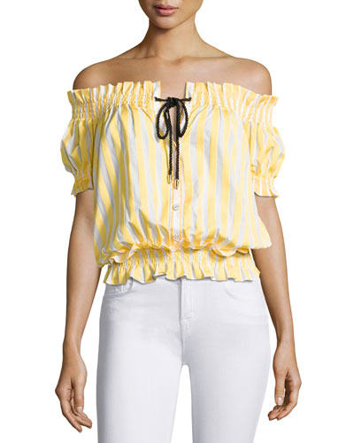 Off-The-Shoulder Peasant Top, Yellow