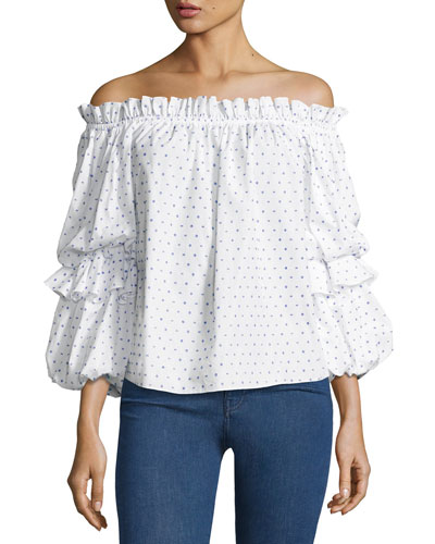 Gia Off-the-Shoulder Poplin Top, Blue Pattern