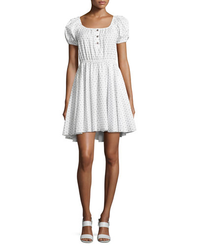 Bardot Dotted Cotton Dress, White