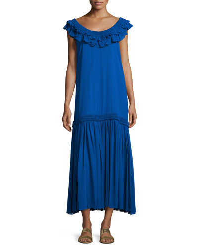 Silk Chiffon Ruffle Maxi Dress, Royal