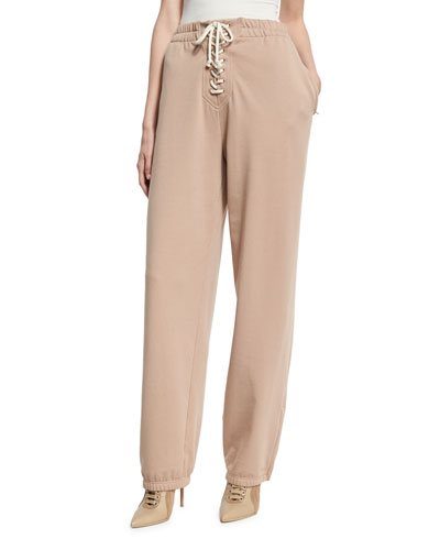 Front Lacing HIgh-Waist Sweatpants