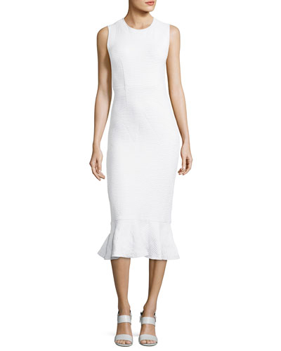 Wavy Lotus Striped Dress, White