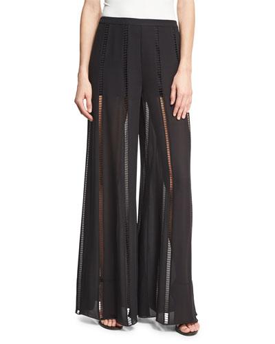 The Lita Ladder-Stitch Silk Pants, Black