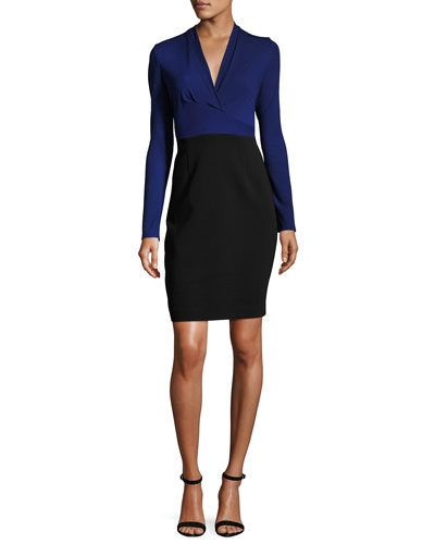 Heather Long-Sleeve Two-Tone Sheath Dress, Blue