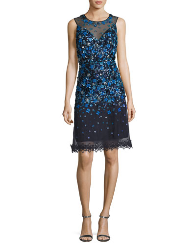Justina Sleeveless Sequined Mesh Cocktail Dress, Navy